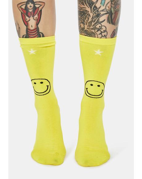 Smile Back Baby Smiley Face Crew Socks