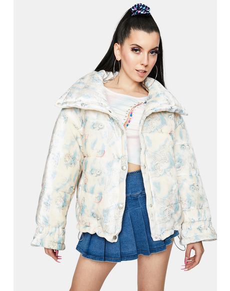 Cupid Velvet Printed Puffer Jacket