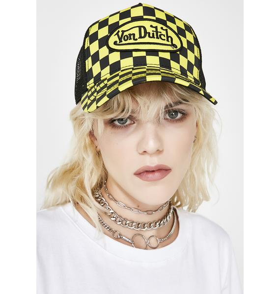 Von Dutch Checkered Logo Trucker Hat