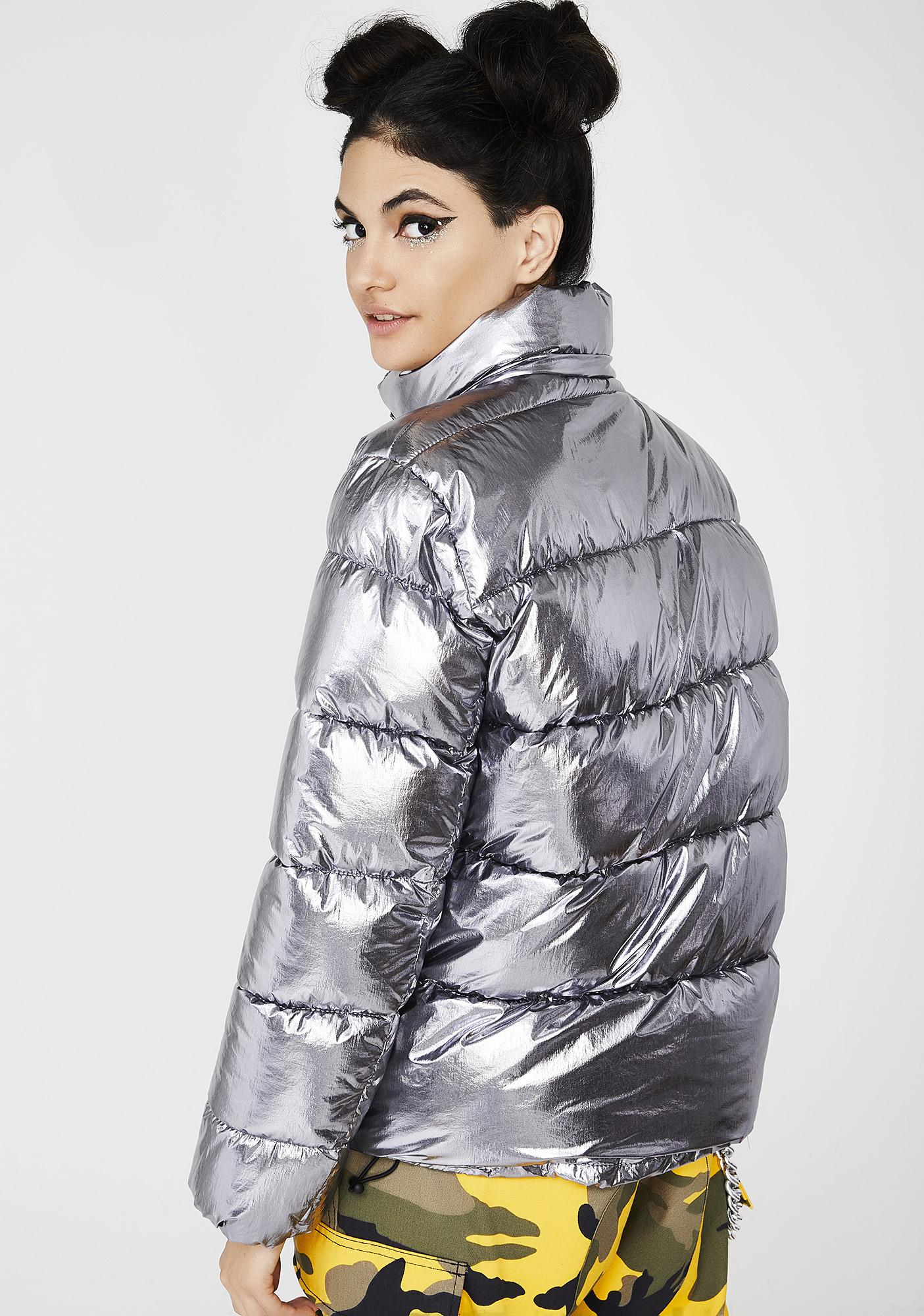 To Infinity Metallic Puffer Jacket
