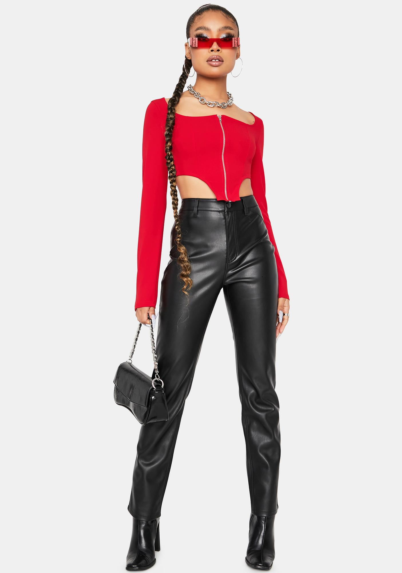 Flame Laughing Out Loud Zipper Crop Top