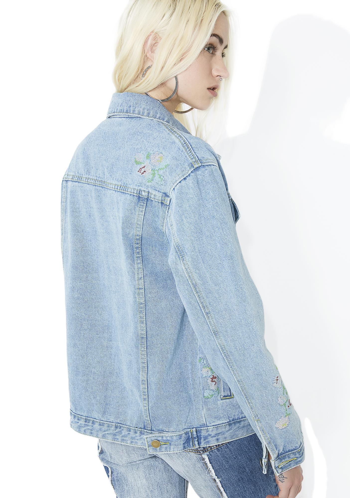Open Fields Embroidered Denim Jacket