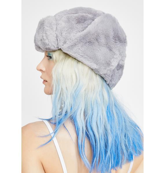 Slate Fresh Powder Fur Trapper Hat
