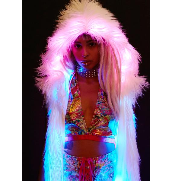 J Valentine Light-Up Hooded Faux Fur Duster