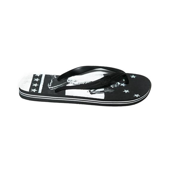 Religion Praying Skeleton Flip Flops