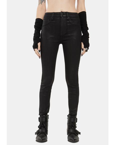 Coated Black Aline High Rise Skinny Jeans