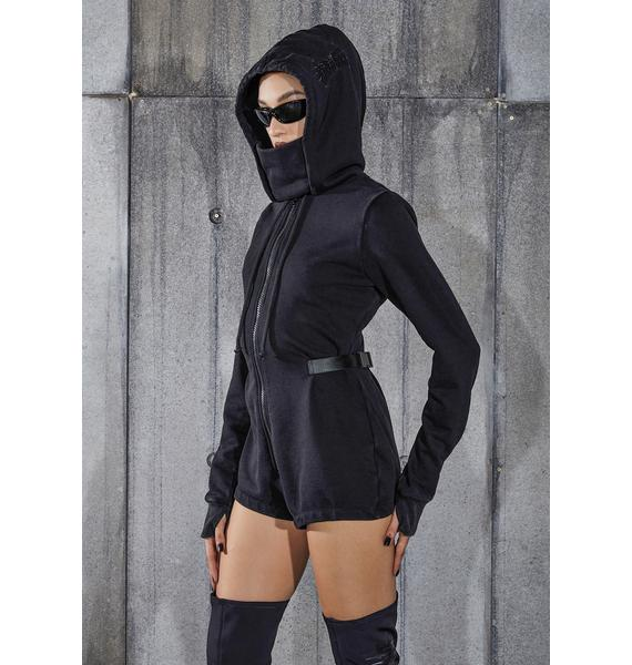 DARKER WAVS Snare Long Sleeve Hooded Mask Romper