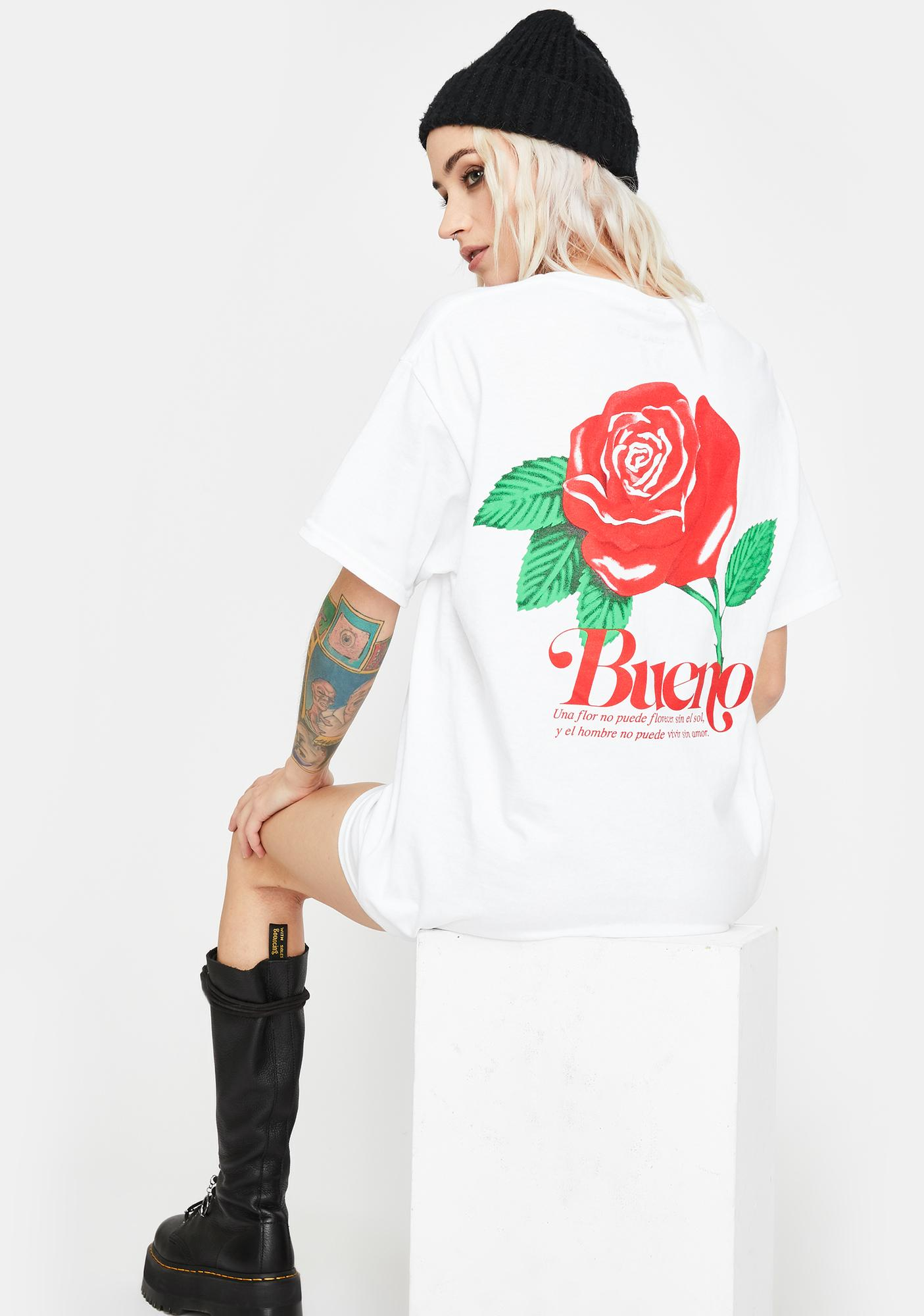 "Bueno ""It Means Good"" Flower Love Graphic Tee"