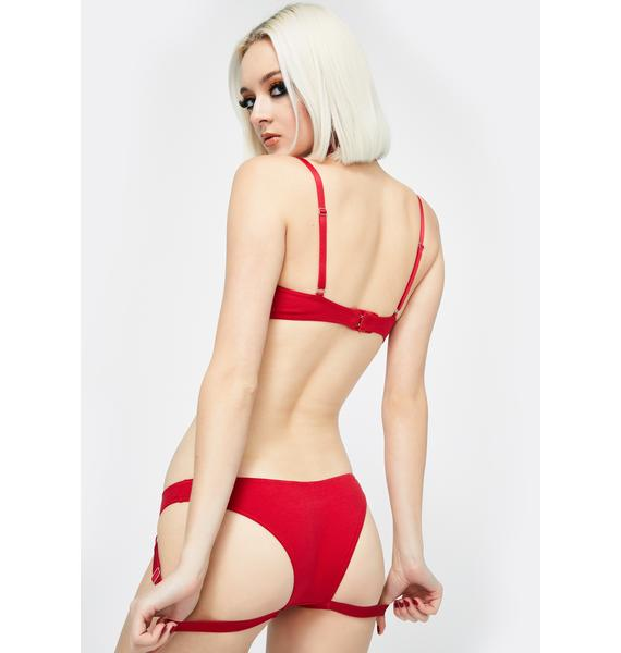 The End Lingerie Red Complicated Pierced Briefs