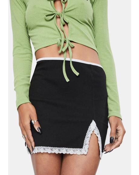 Lace Trim Mini Skirt