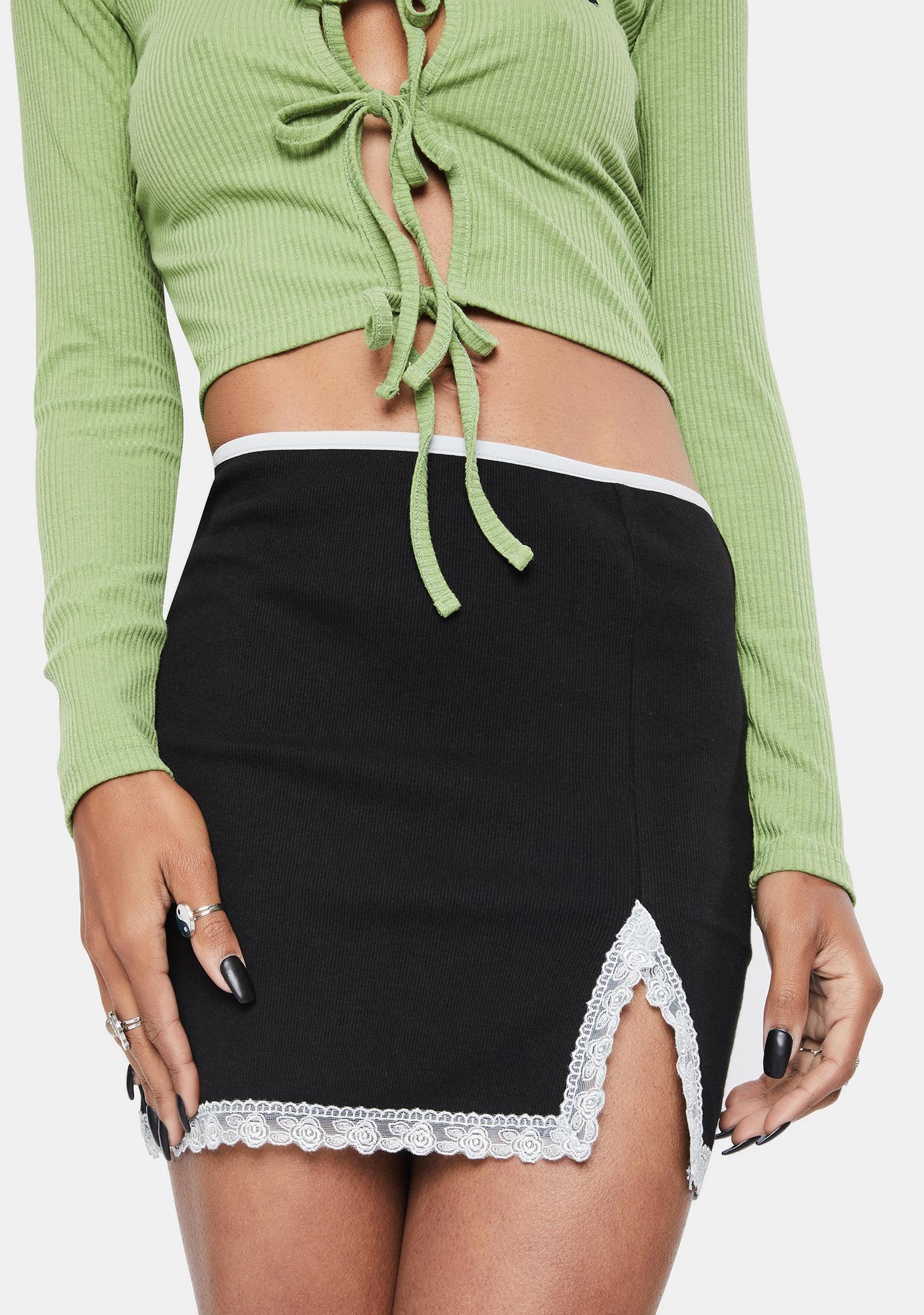 BADEE Lace Trim Mini Skirt