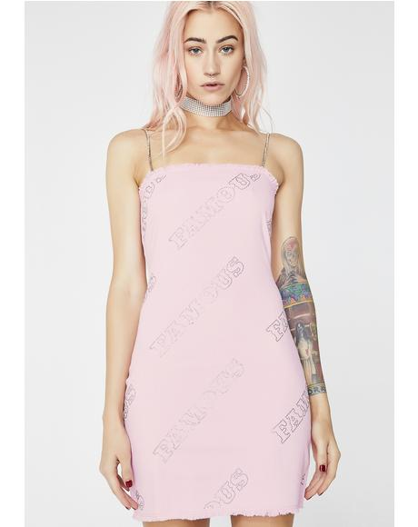 Diamante Famous Pink Denim Dress