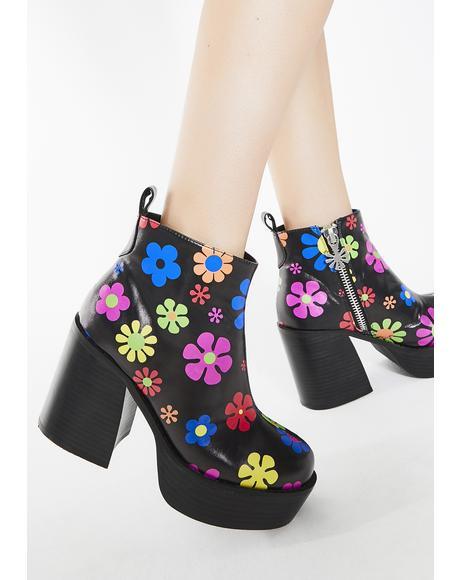 Flower Power Platform Boots