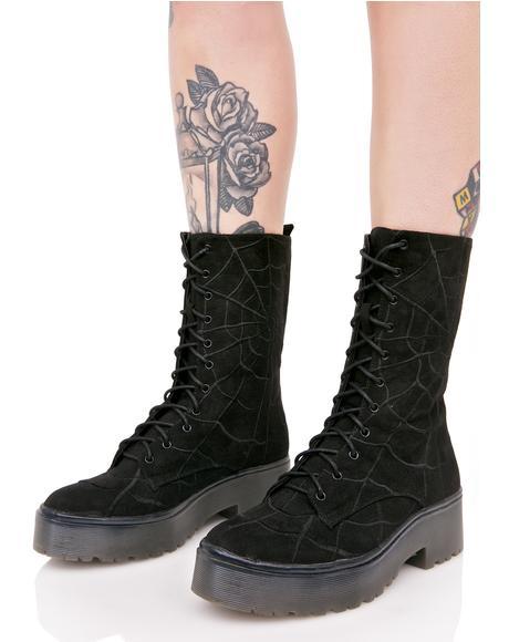 Noir Walking In My Web Heavy Sole Boots