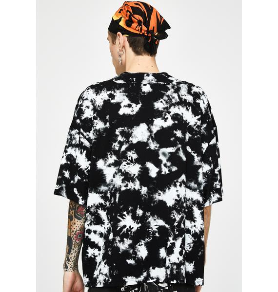 Jaded London Tie Dye Skull Print Oversized T-Shirt