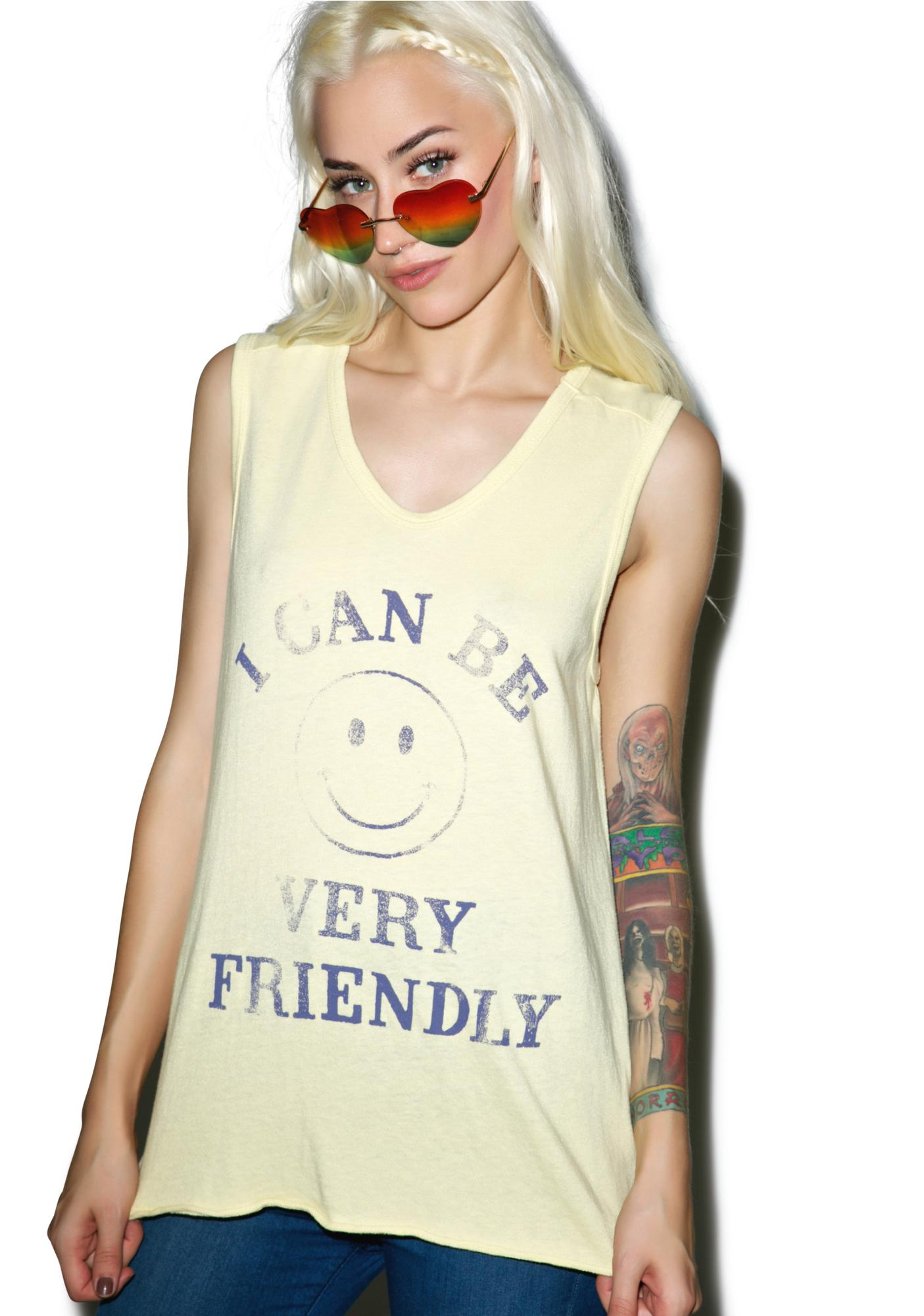 Junk Food Clothing I Can Be Very Friendly Muscle Tank