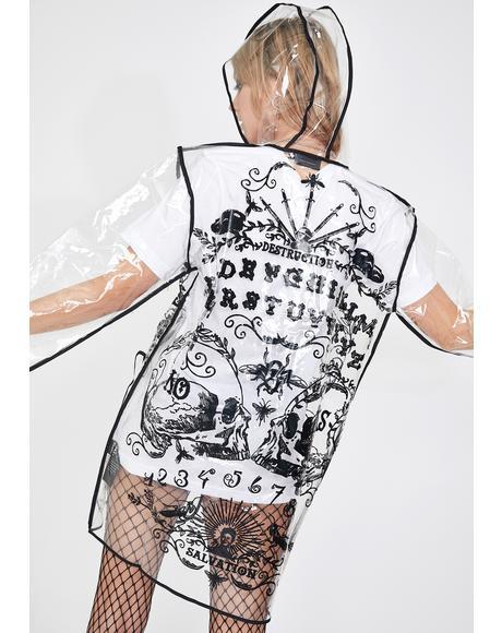 Ouija Print Clear Raincoat