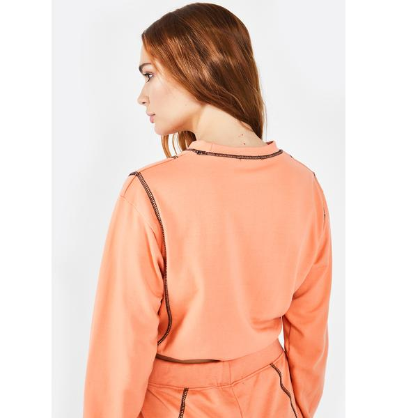 Public Desire Orange PDSR Logo Sweatshirt