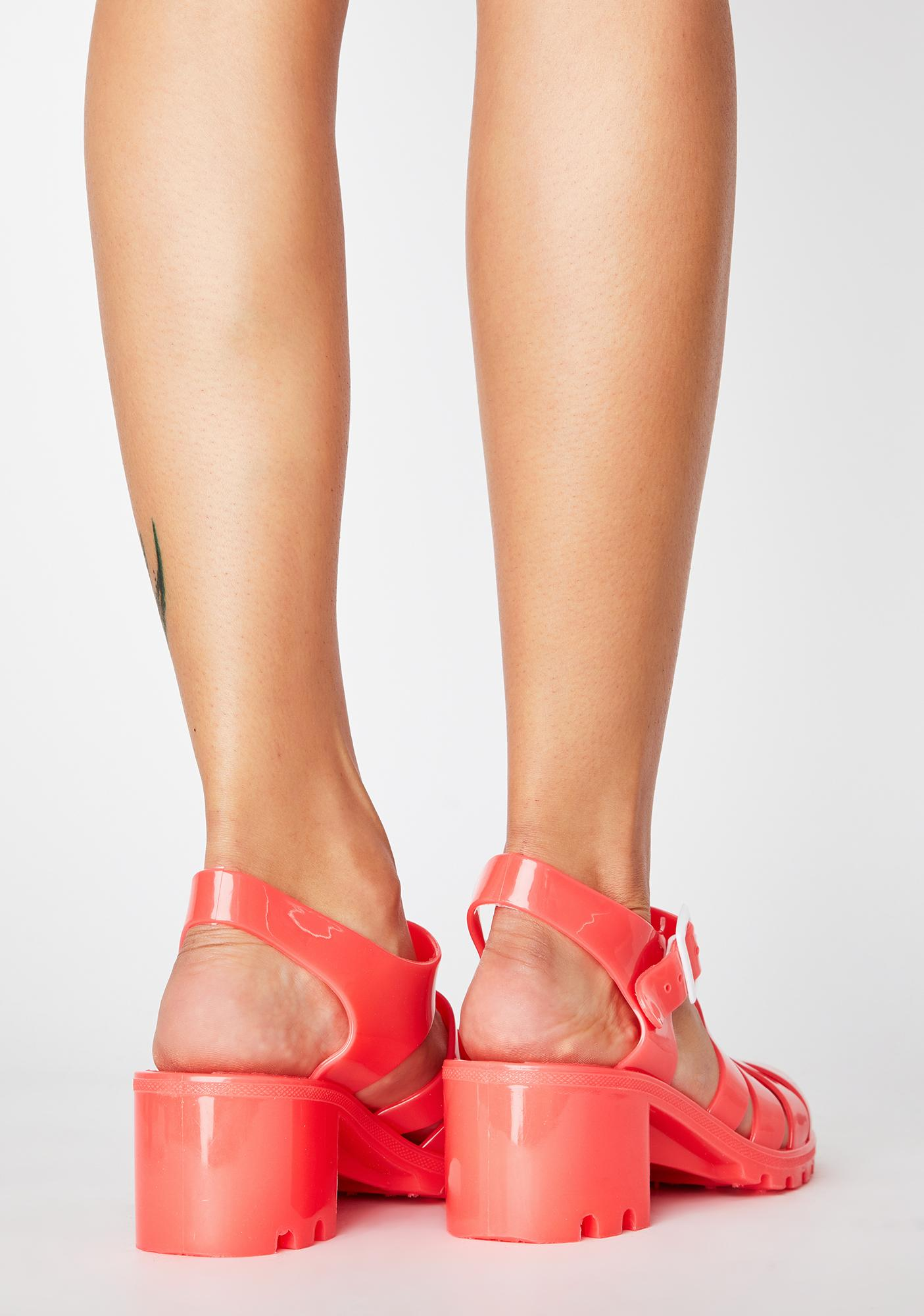Tangerine Feel This Moment Jelly Sandals