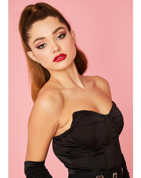 Noir Share My Love Satin Bustier Top
