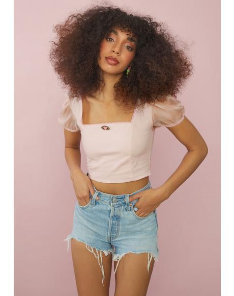 Blush French Summer Crop Top