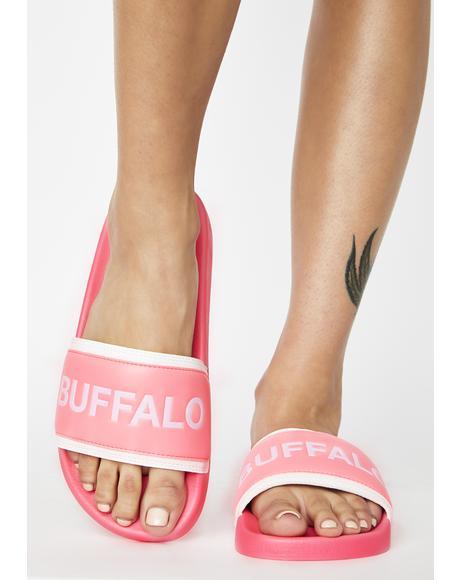 Neon Pink Jola Slides