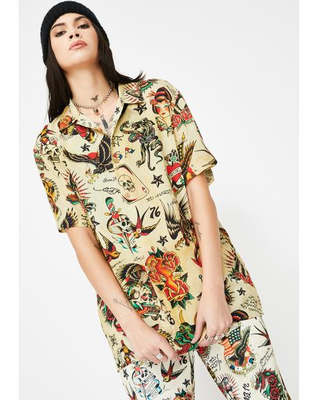 Printed Camp Button Up Shirt