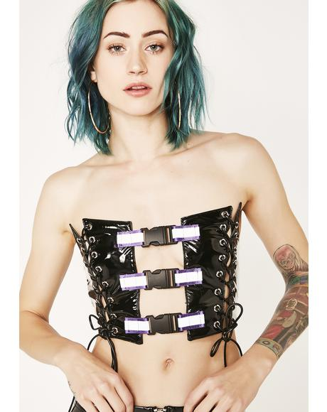 Corset With Purple Reflective Buckles