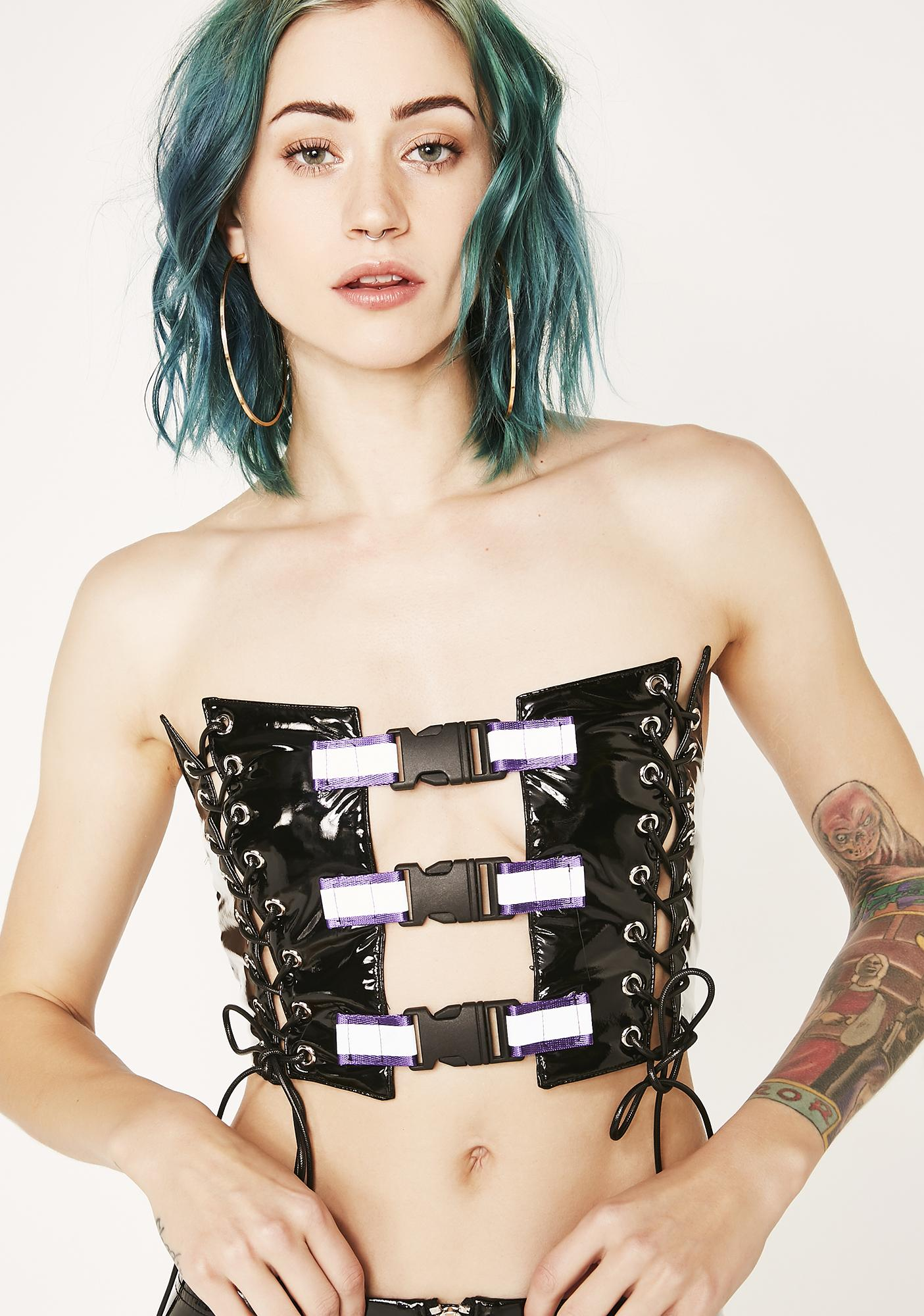 Jaded London Corset With Purple Reflective Buckles