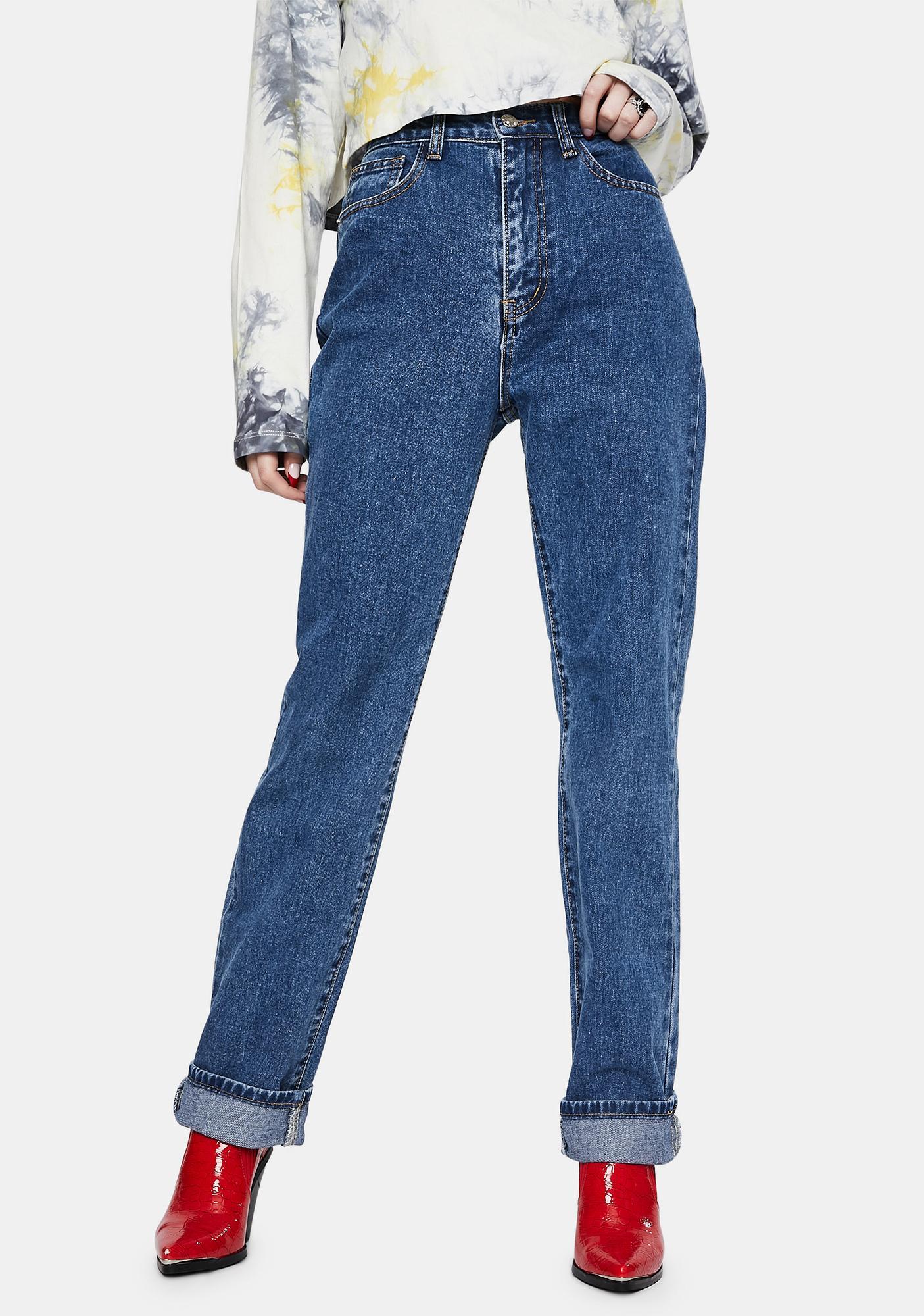 Momokrom Dark Wash Extra Long Straight Jeans