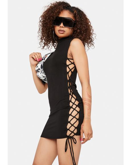 Born Again Lace Up Mini Dress