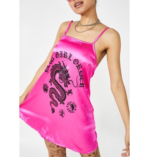 NEW GIRL ORDER Dragon Print Satin Dress
