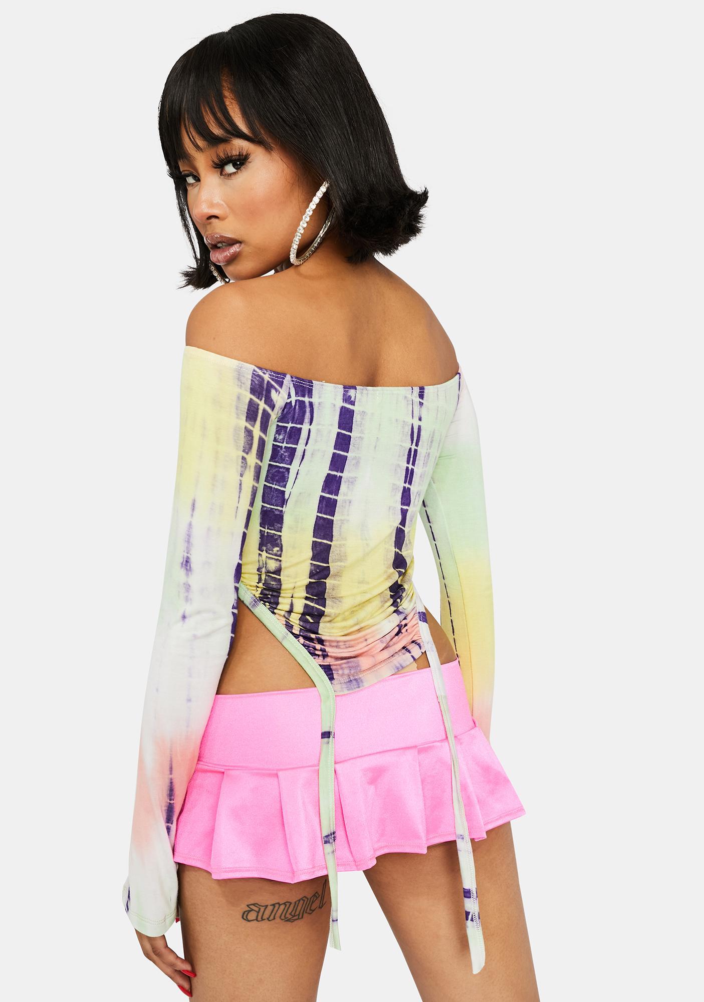 Ur Local Princess Off Shoulder Tie Dye Top