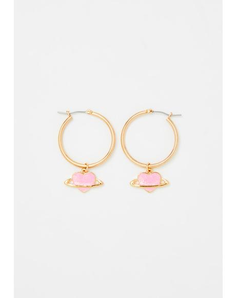 Planet Of Love Hoop Earrings
