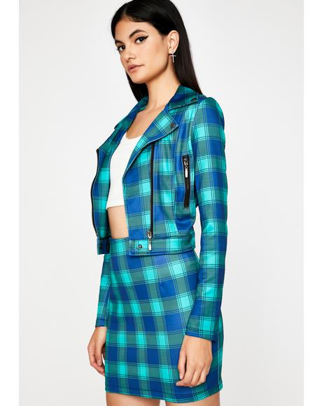 Teal Plaid Action Moto Jacket