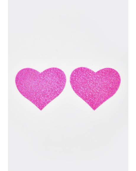 Pink Glitter Heart Pasties