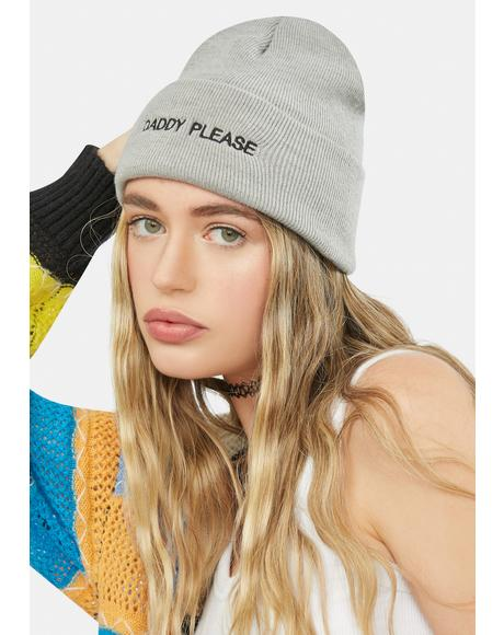 Gray Daddy Please Knit Beanie