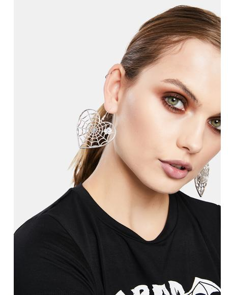 Spider In Love Drop Earrings