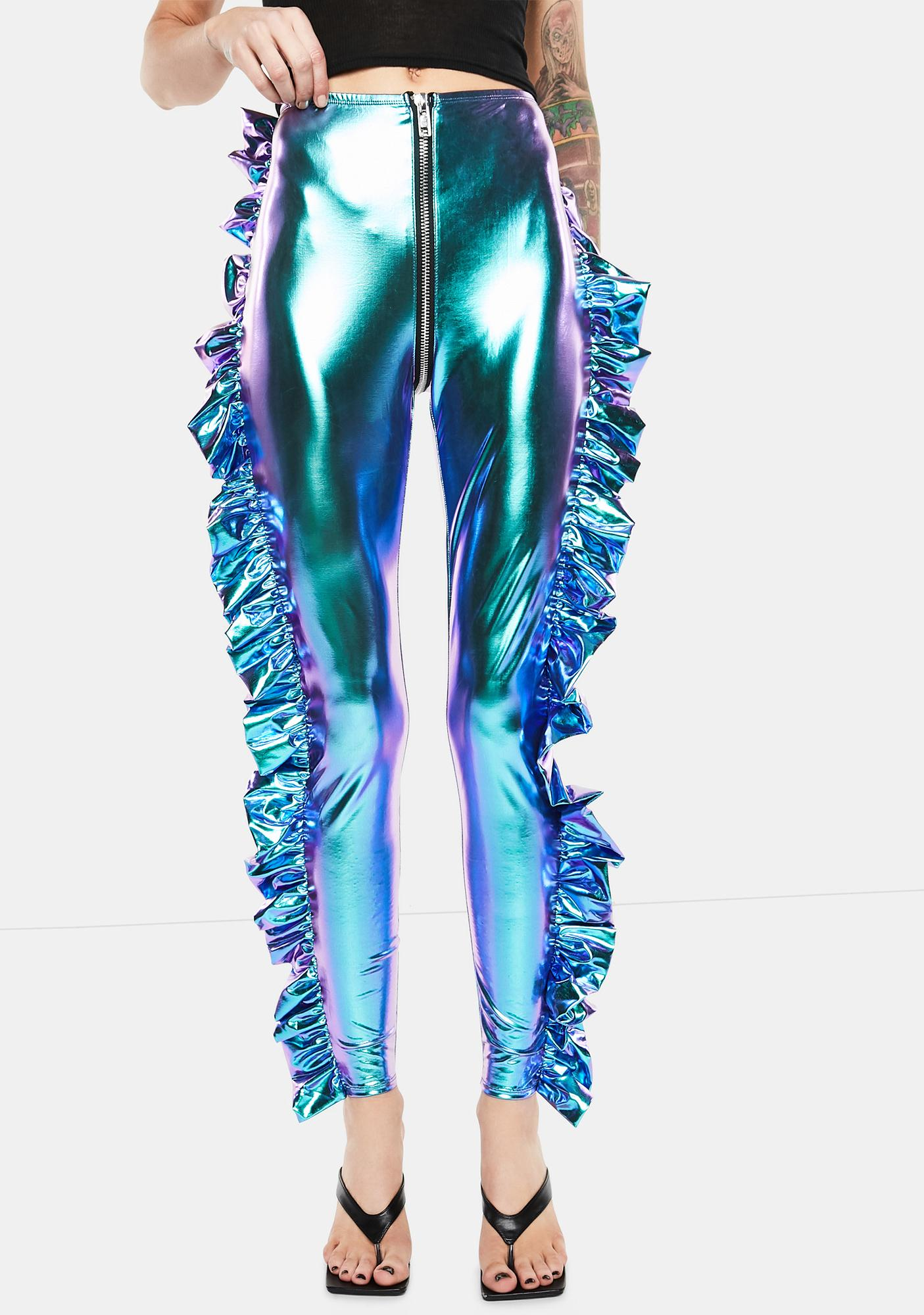 Club Exx Cosmic Ace Metallic Ruffle Pants
