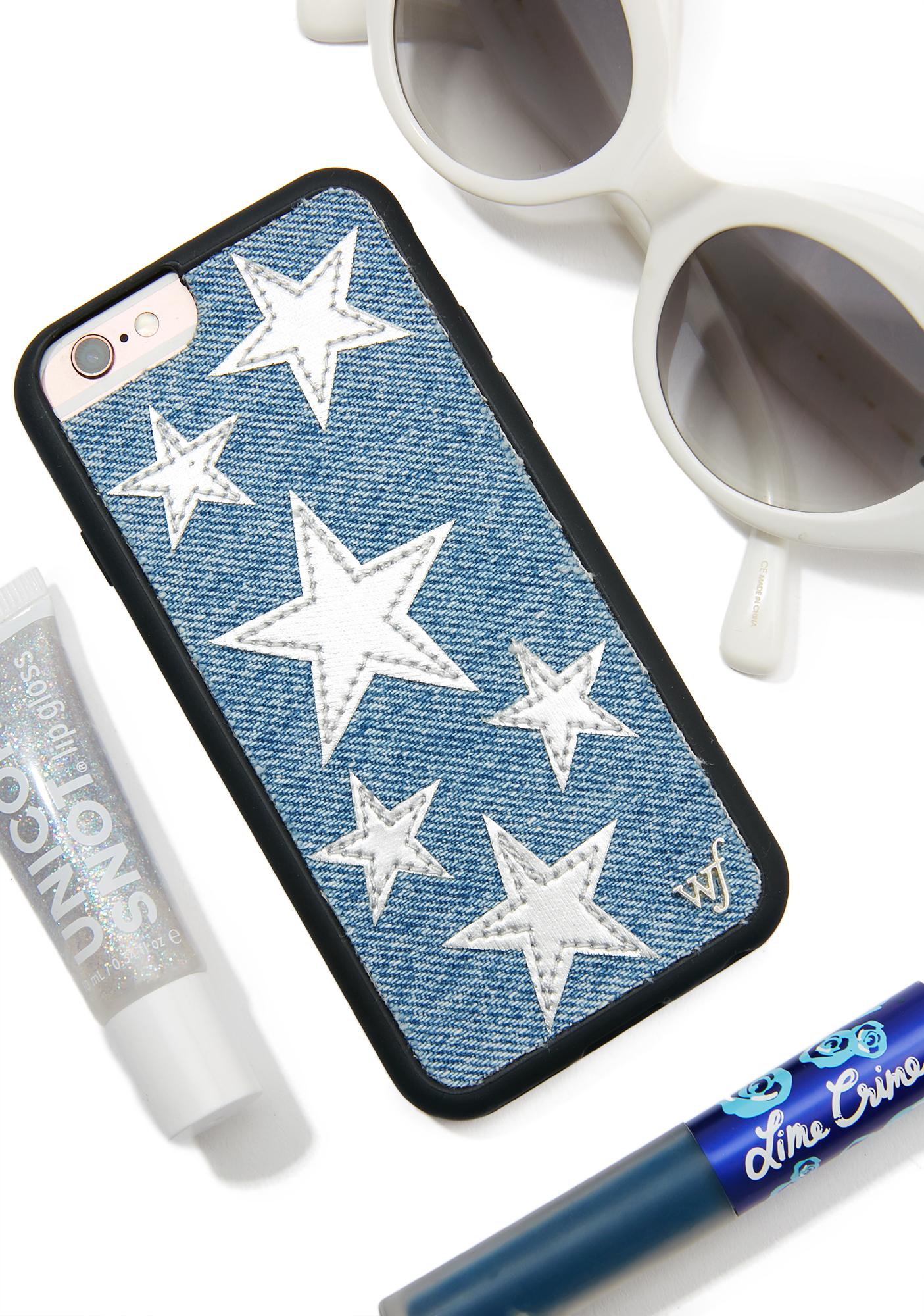 Wildflower Silver Star Denim iPhone Case