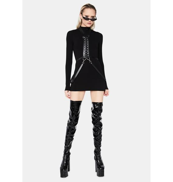 Noir Same Page Long Sleeve Mini Dress