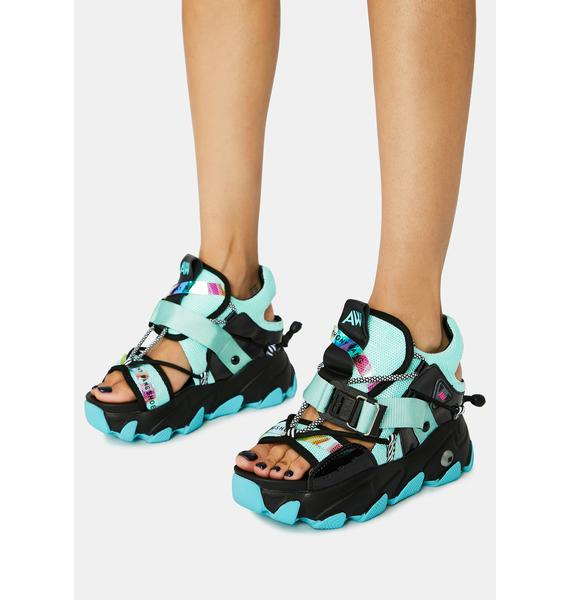 Anthony Wang Teal Dragon Fruit Sandals