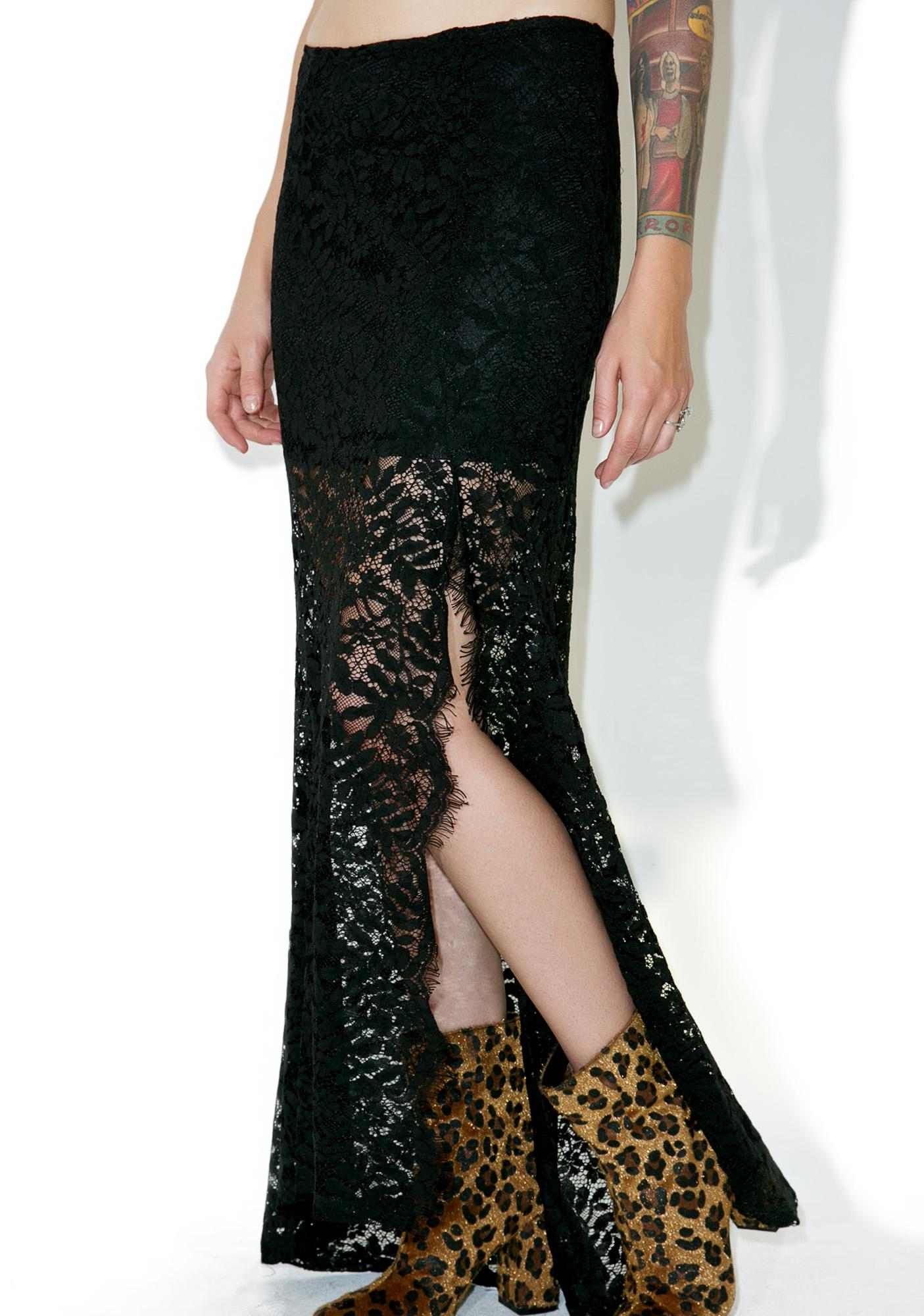 Dark Tides Lace Maxi Skirt