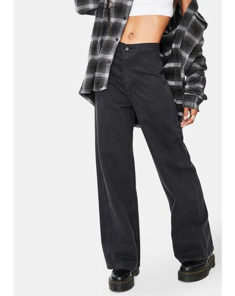 Black Hemp Altered Wide Leg Jeans