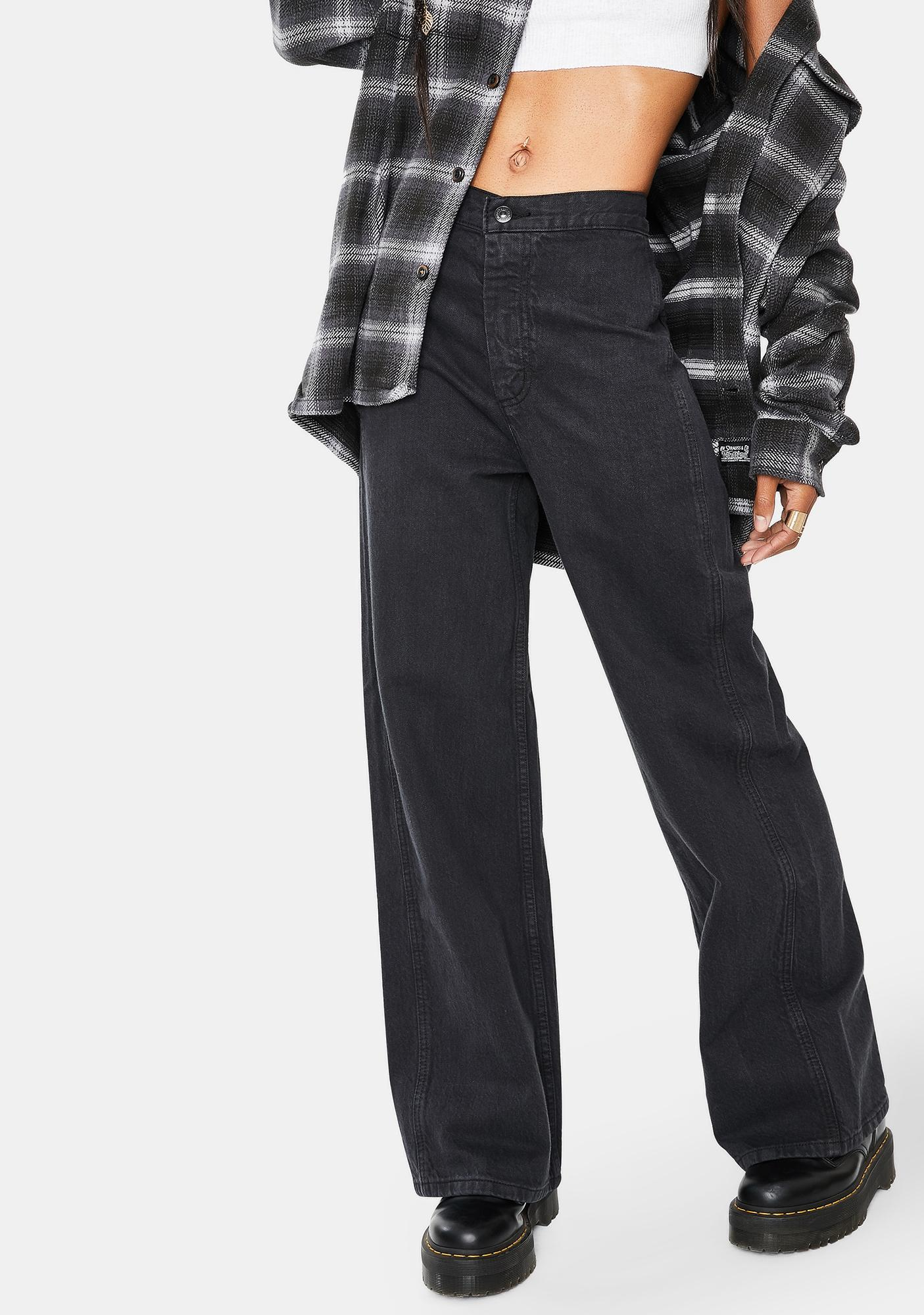 Levis Black Hemp Altered Wide Leg Jeans