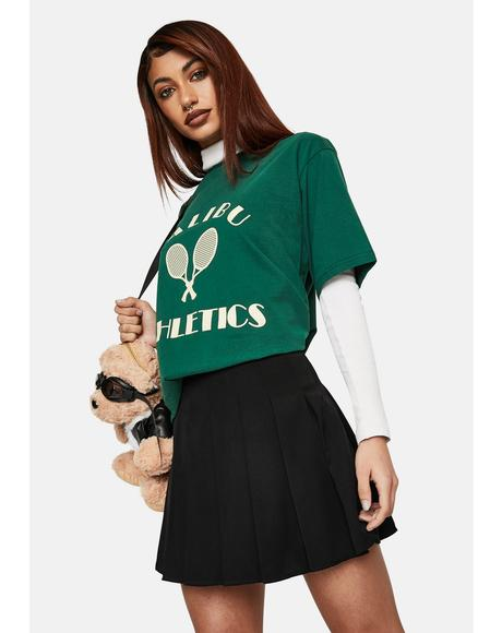 Noir Pleated Tennis Mini Skirt