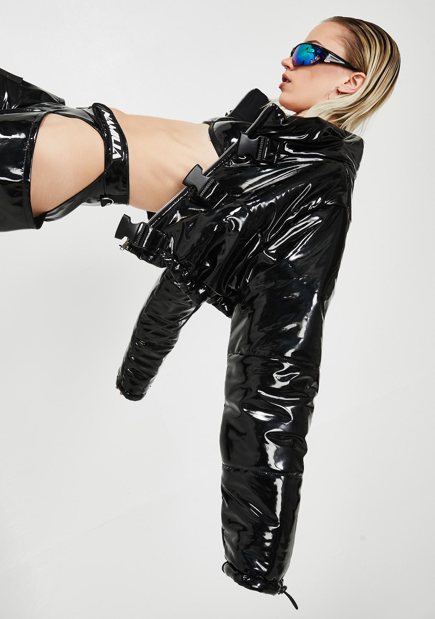 Lipt The Label PVC Cropped Puffer Jacket