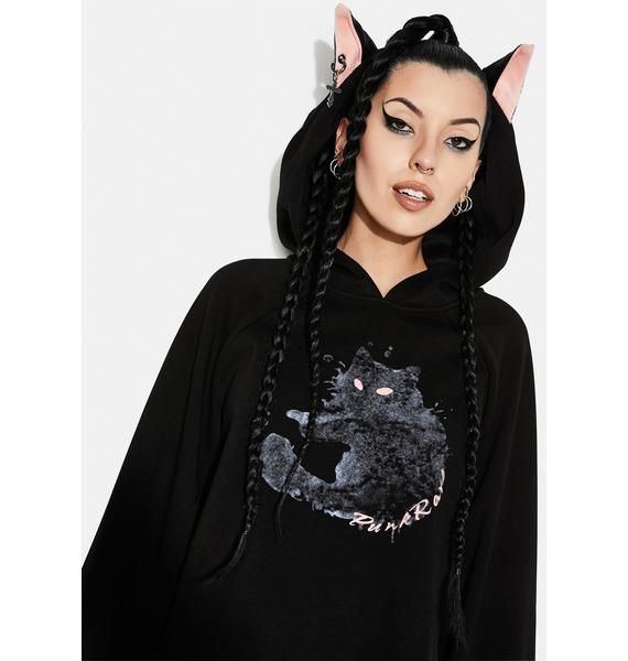 Punk Rave Cat Print Loose Fit Velvet Hoodie
