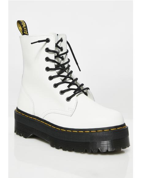 White Jadon 8 Eye Boots