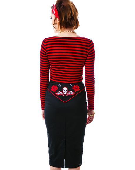 Psychobilly Western Pencil Skirt